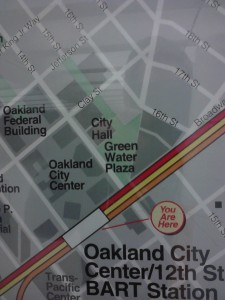 An older BART neighborhood map of downtown Oakland shows City Hall and Frank Ogawa Plaza (then known as Green Water Plaza).